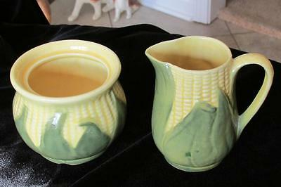 Vintage Shawnee Corn King-Sugar Bowl #78 & Creamer-Soft Yellow/green Husks-Nice!