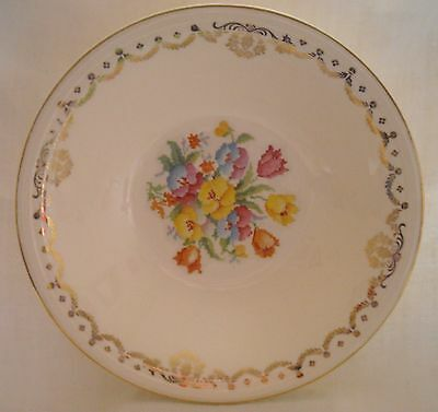 Edwin Knowles China Cross-Stitch Set of 4 Cereal Bowls  Floral & Gold