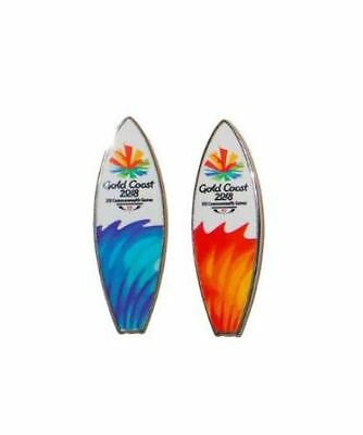 Set Of 2 2018 Gold Coast Commonwealth Games Blue & Orange Surfboard Pin Badge