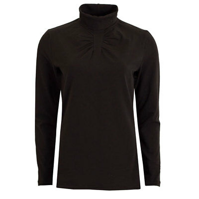 Green Lamb Roll-Neck Top with Ruching Detail in Black