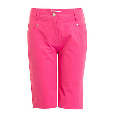 Green Lamb Bermuda Shorts With Silver Stud Details in Fuchsia Pink