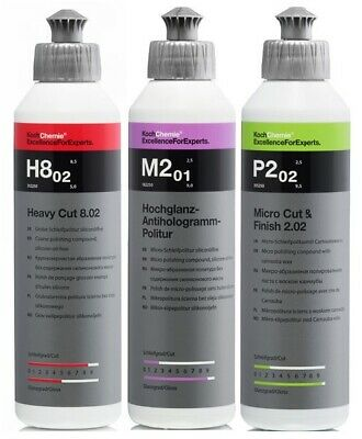Koch Chemie Profi Politur Set 3x 250 ml Heavy Cut & Antihologramm & Cut & Finish