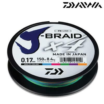 Daiwa J-Braid X4 Japanese Fishing Braid Line 150M Spool Multi Colour