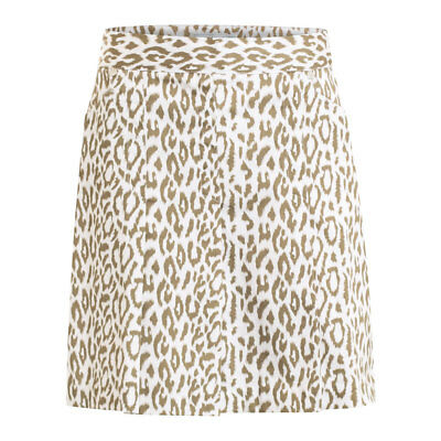 Green Lamb A-Line Pleated Skort with Flattering Finish in Khaki/White