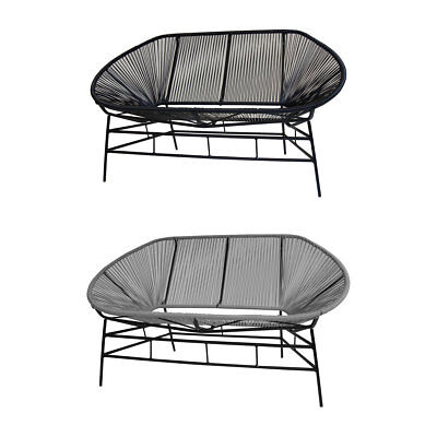 Charles Bentley Garden Furniture Retro Rattan Lounge  Bench - Grey/Black