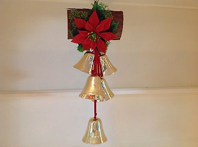 Vintage Christmas Door Decoration, Hanging Bells, Poinsettia, and Log.