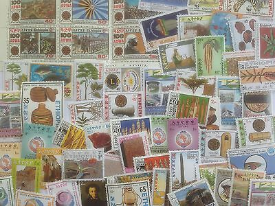 100 Different Ethiopia Stamp Collection