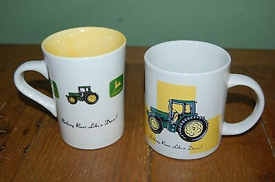2 Different John Deere Tractor Cups Mugs Excellent Condition