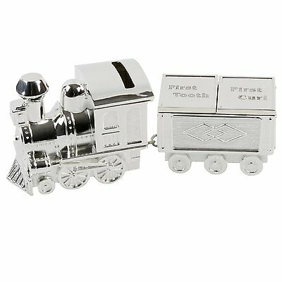 Silver Plated TRAIN Tooth & Curl Money Bank Box New Baby Christening Gift CG404