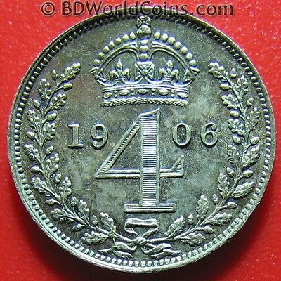 1906 Maundy 4 Pence Silver Proof-Like Rainbow Tone Great Britain King Edward Vii