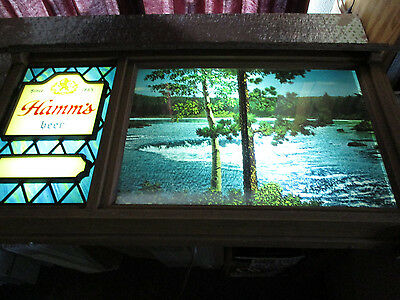 Vintage Hamm's Scene O Rama Motion Beer Sign Waterfall, Canoe, Campfire