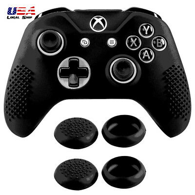 Black Silicone Gel Case for Xbox One S X Controller with 4 Pcs Thumbstick Grips