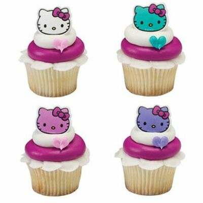 12 Hello Kitty Happy Everything Cupcake Rings Birthday Party Favors Cake Topper