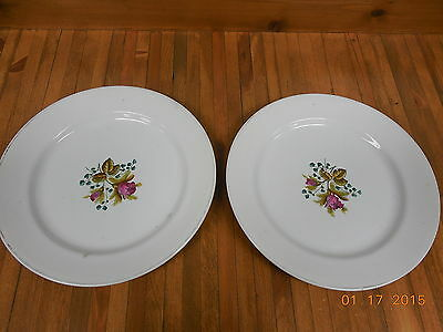 "2 Vintage Meakin Royal Ironstone China 10"" Dinner Plates <"
