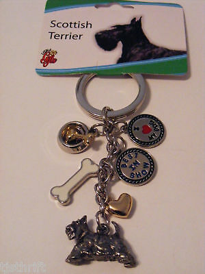 """Metal Charms Scottish Terrier Dog Key Chain/ring 4"""" New"""