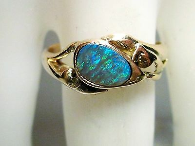 Rose Gold Ring, Size 8.5, Black Opal, 0.5 ct - video
