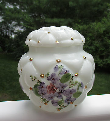 Phoenix Consolidated Glass Con Cora Diamond Quilted MilkGlass Biscuit Jar Violet