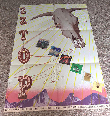 Vintage 1979 Zz Top Warner Brothers Records Poster 35 X 23""
