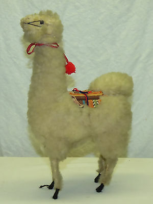 "Vintage Peruvian Hand Crafted Made 11"" Wool Llama Animal Figurine Peru"