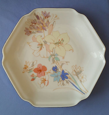 "Floral (Yellow, Blue, Pink, Green, Lavender) Hexagon 7"" Plate Gold Trim JAPAN"