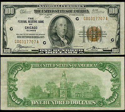 FR. 1890 G $100 1929 Federal Reserve Bank Note Chicago Very Fine+