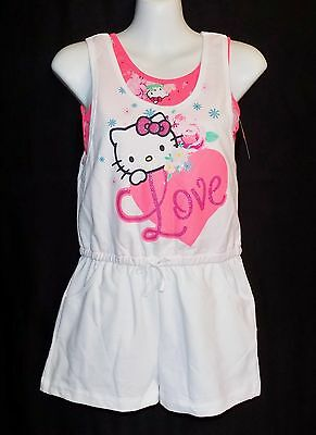 NWT Girl's Hello Kitty One Piece Jumpsuit~Cotton Blend~White /Pink~Size S 6X, L