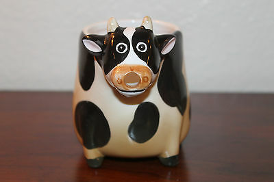 Adorable Collectible Giftco Black and White Dairy Cow Ceramic Milk Cream Pitcher