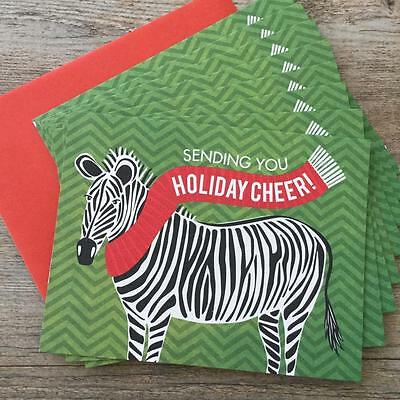 8 Zebra Wearing Holiday Scarf Christmas Cards