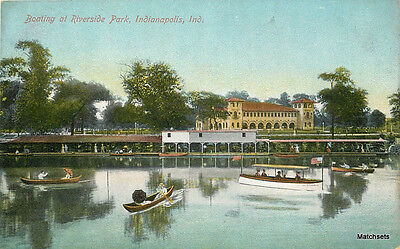 INDIANAPOLIS INDIANA Boating Riverside Park Import postcard 100287