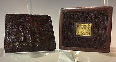 Kangxi mark 19c CHINESE CINNABAR CARVED LACQUER BOX Qing Era