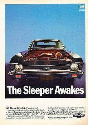 1969 Chevrolet Nova SS Original Advertisement Print Art Car Ad J731