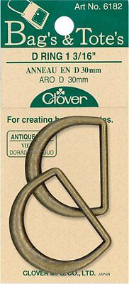 "Clover D-Rings 1-3/16"" 2/Pkg-Antique Gold"