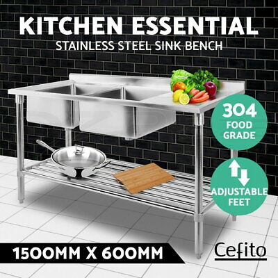 Cefito Stainless Steel Sink Bench Kitchen Work Benches Double Bowl 150x60cm 304