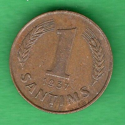 Latvia Lettland 1 Santims 1937 Coin 381