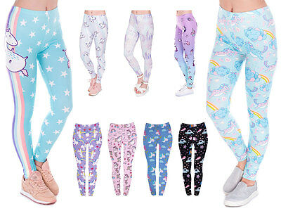 Damen Leggings Einhorn Unicorn Leggins Legins Sport Hose mit Print Motiv Stretch