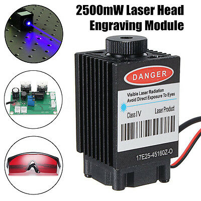 2500mW Laser Head Engraving Module Wood Marking Diode + Glasses For CNC Engraver