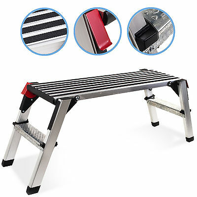Alloy 2 Step Tread Folding Work Builder Decorator Plaster Platform Bench Ladder
