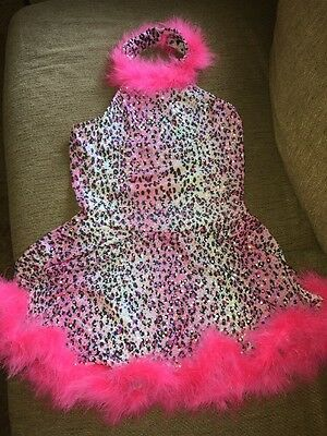 Girls Large Dance Halloween Pink Leopard Print Sparkly  Costume