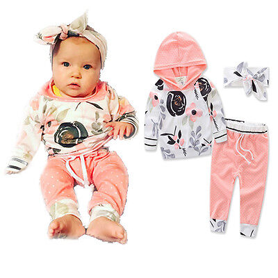 0-36M Newborn Baby Kids Girls Clothes Floral Hooded Tops+Long Pants Outfits Set