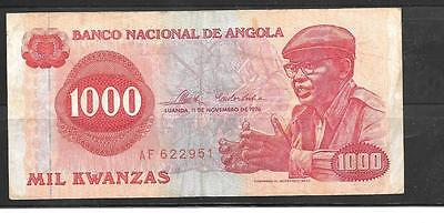 ANGOLA #113a 1976 VG USED 1000 KWANZAS BANKNOTE PAPER MONEY CURRENCY BILL NOTE