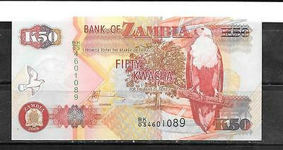 Zambia #37G 2008 Uncirculated 50 Kwacha Banknote Currency Bill Note Paper Money