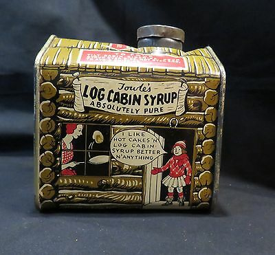 "VTG Towle's Log Cabin Syrup Litho Tin Table Size 12oz ""Girl In Doorway"""
