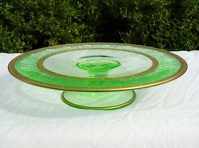 Glastonbury Lotus Grecian  Etch Vaseline Green Cake Plate Footed Glass Gold