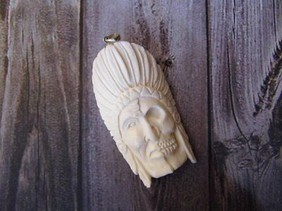 Pendant Indian Half Skull Head from Buffalo Bone Carved with Silver 925_x384