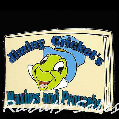 Jiminy Book Cover Maxims and Proverbs - LE250 Disney Auctions Pin - New On Card
