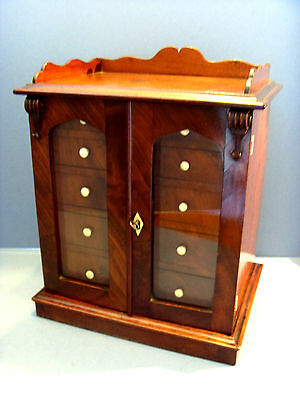 Early Victorian Mahogany Glass Fronted Miniature Collectors Chest Of Drawers