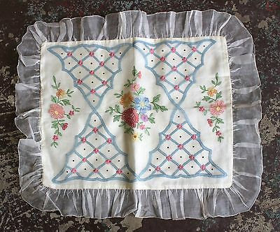 Antique 1920s Embroidered Sheer Organdy & Satin Pillow Cover Case Roses