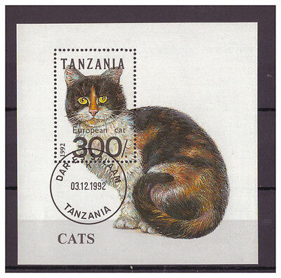 Tansania, Katze | Cat MiNr. 1412 Block 201, 1992 used