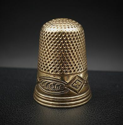 "Antique Victorian Decorative 14k Yellow Gold Thimble 0.85"" Collectible M378"