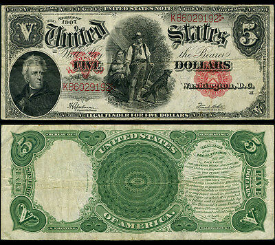 FR. 91 $5 1907 Legal Tender Very Fine